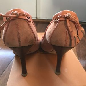 Giuseppe Zanotti Peach Suede Open Toe Heels 36